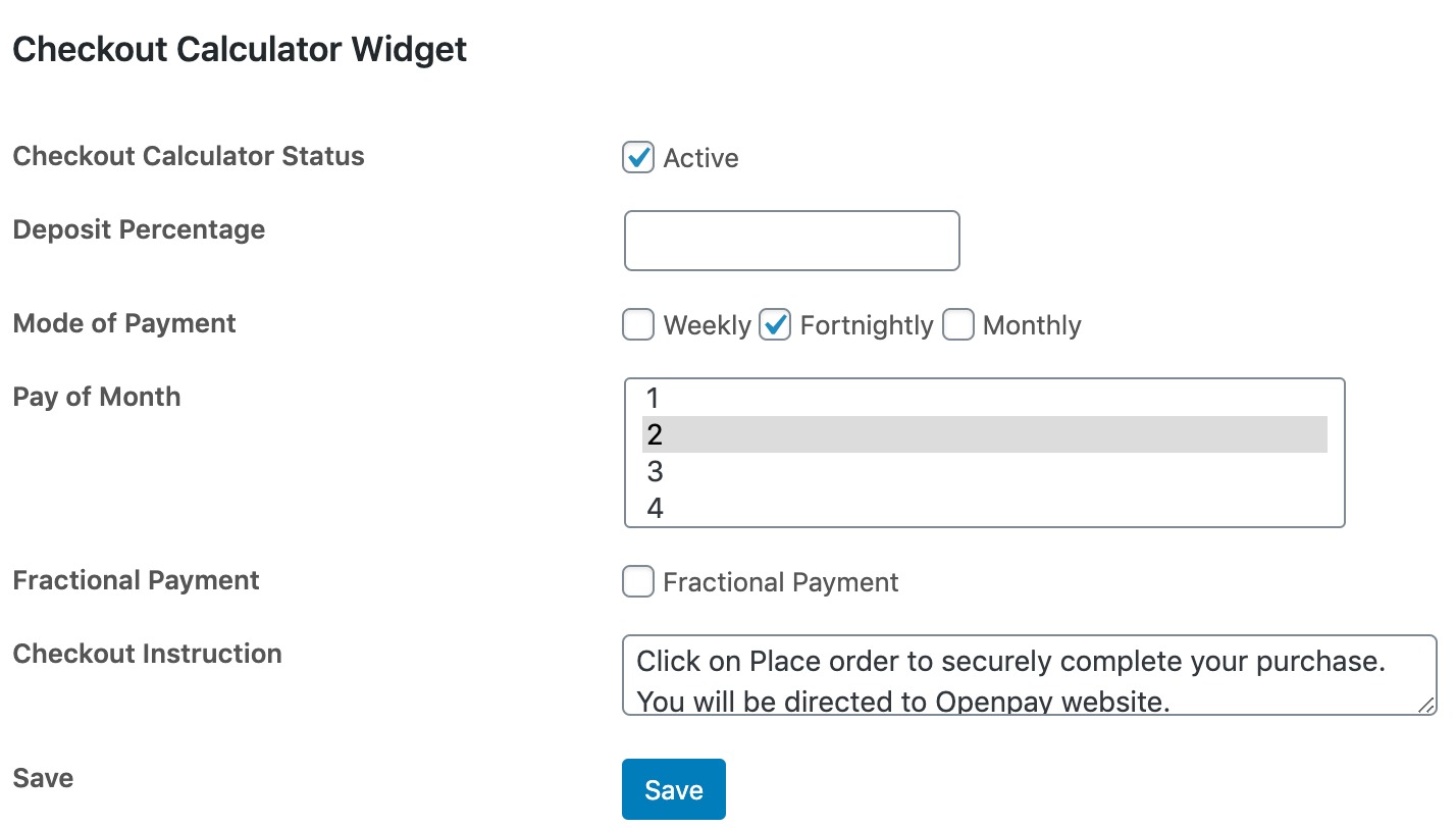 WP Fractional Checkout